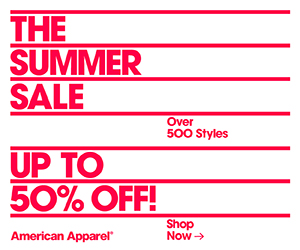 Up to 50% Off Over 500 Styles at American Apparel!