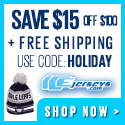 Holiday Special! Save $15 off $100 or more & receive free shipping on all orders at IceJerseys.com! Coupon Code: HOLIDAY (Valid until Dec 23rd)