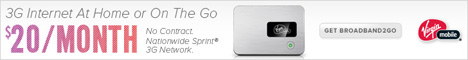 Virgin Mobile 3G Internet at home or on the go.  Broadband2Go