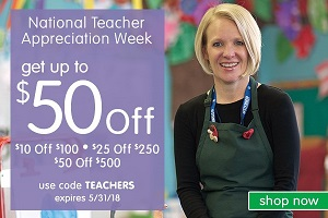 National Teacher Appreciation Week Sale! Get Up To $50 OFF Plus Free Shipping On Orders Over $99! Us