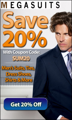 20% off coupon code for men's suits and apparel.