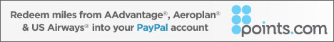 Redeem airline miles into your PayPal account with Points.com