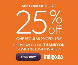 25% Off One Regular Priced! Use Promo Code: THANKYOU. Ends September 21! (Exclusions Apply)