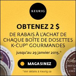 Obtenez 2 $ de rabais à l'achat de chaque boîte de dosettes K-Cup gourmandes.