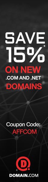 15% off new .COM and .NET domain name registrations at Domain.com with code AFFCOM