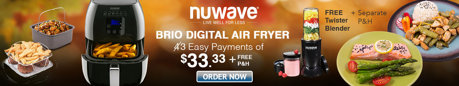 NuWave Brio Digital Air Fryer Only 3 Easy Payments of $33.33 + FREE P&H + Choose up to 4 gifts