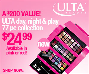 New ULTA day, night & play 77 pc collection for $24.99! A $200 Value, available in pink or red!