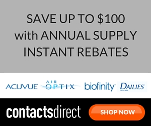 Save up to $100 with Annual Supply instant rebates at ContactsDirect.com.
