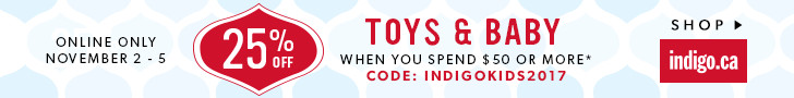 25% off Toys and Baby (ends Nov 5)
