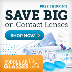 Get FREE SHIPPING on any contact lens order from 39DollarGlasses.com. No minimum required! (US only)