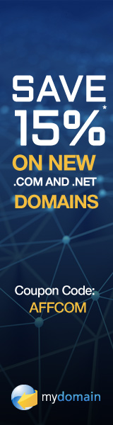 15% off new .COM and .NET domain name registrations at Domain.com with code AFFCOM