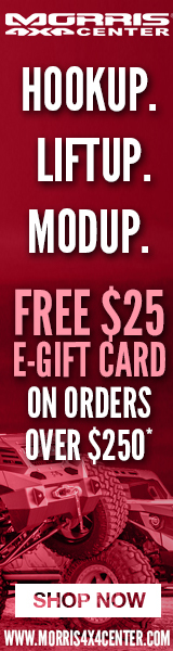HookUp. LiftUp. ModUp. FREE $25 E-Gift Card on orders over $250 at Morris4x4!