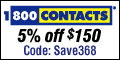 Coupon: Receive 5% off $150 at 1800CONTACTS.com Expires on 10-28-2008