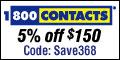 $5 off $95 - 1800CONTACTS.com Coupon - Good till 09.29.2008