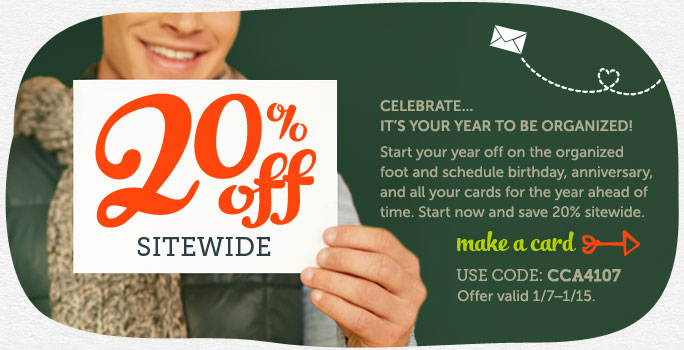 20% off Sitewide at Cardstore! Use Code: CCA4107, Valid through 1/15/14. Shop Now!