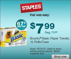 Bounty Basic Paper Towel: $7.99/12 Rolls Shipped FREE! ($0.67/roll!)