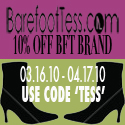 10% off all Barefoot Tess Brand Shoes! Code: TESS