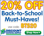 Save 20% On Back To School Must Haves Now At DiscountSchoolSupply.com!