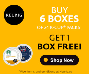 Buy 6 boxes of 24 K-Cup packs Get 1 FREE!