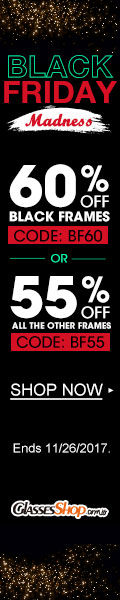 Black Friday Madness! Black Frames 60% off ALL others 55% off! Use Code BF60