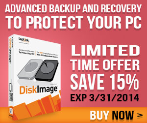 Protect your PC with advanced backup and recovery software DiskImage! 15% off until 3/31/14