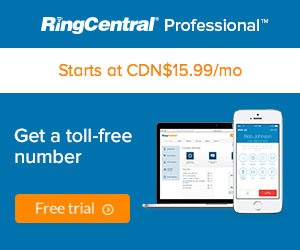 CAN RingCentral Professional - Get a Toll Free Number with voicemail starting at CDN $9.99 per month