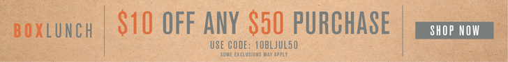 Online Exclusive! Take $10 Off $50 with code: 10BLJUL50 at BoxLunch.com! Gift Some. Give Back. See site for details.
