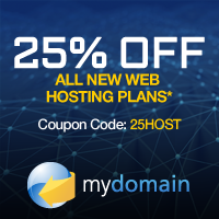 25% off all Hosting at MyDomain.com with code: 25HOST