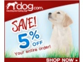 5% off any size order at dog.com
