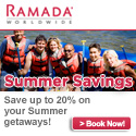 Ramada: Extra 20% off 3+ Nights Stay + Room w/Rewards Package .