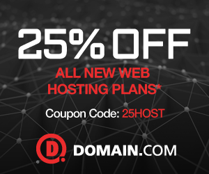 Domain.com promo code 25% Off Hosting Active and Latest