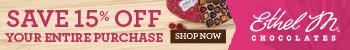 Save 15% off Your Entire Purhase for Valentine's Day at Ethel M Chocolates