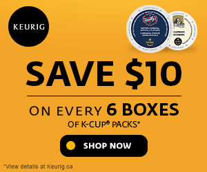 Save $10 on every 6 boxes of K-Cup packs. Only at Keurig.ca
