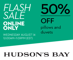Flash Sale - 50% off all pillows and duvets at TheBay.com