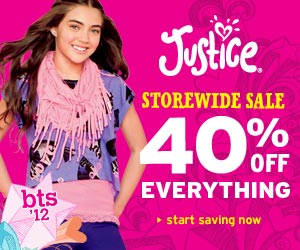 Justice 300X250: Take 40% Off Your Order 3/13-4/7