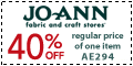40% OFF the regular price of 1 item at joann.com!