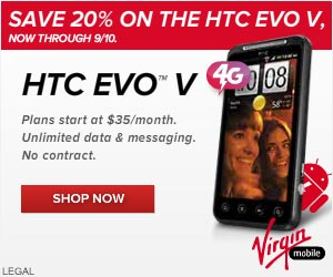 Online Exclusive! Save 20% off the HTC One V at Virgin Mobile now.
