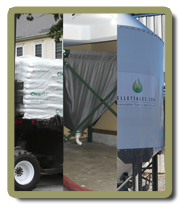 Bulk wood pellets and wood pellet silos.
