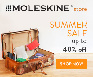 Save up to 40% off a the Moleskine Summer Sale.