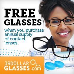 Get a FREE pair of glasses valued at $39 FREE standard shipping when you purchase an annual supply (