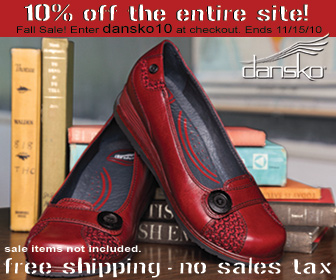10% off all Danskos.  Ends April 30, 2011