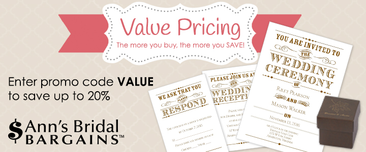 Save up to 20% on your order with Ann's Bridal Bargains