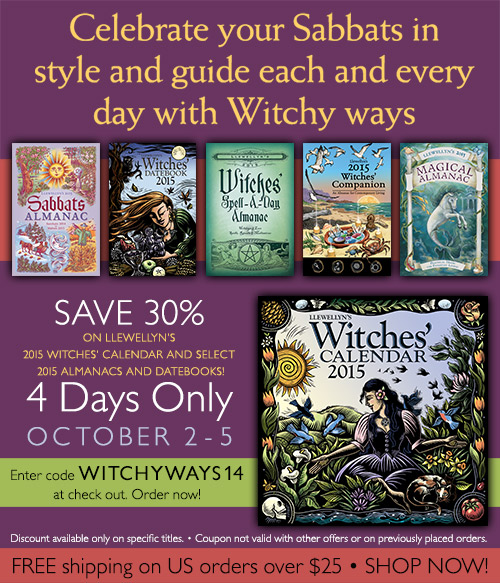 Save 30% on Select 2015 Witchy Calendars, Almanacs, and Datebooks from Llewellyn!