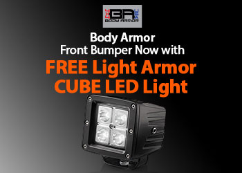 Body Armor Jeep Front Bumper now comes with a FREE Light Armor Cube LED light.