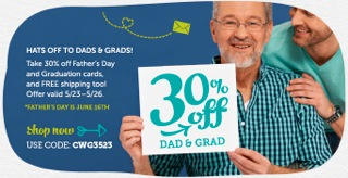 Hats Off to Dads & Grads! Save 30% off Father's Day and Graduation Cards + Free Shipping at Cardstor