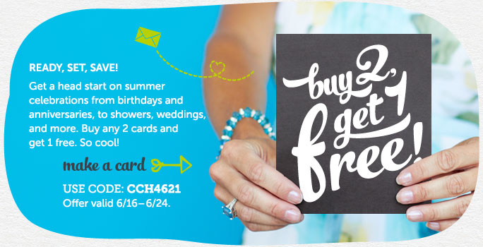 Buy 2 Cards, Get 1 Free at Cardstore! Use Code: CCH4621. Valid through 6/24/14. Shop Now!