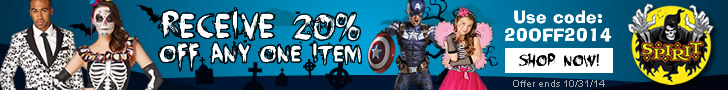 Receive 20% Off Any One Item at Spirit Halloween! Use code: 20OFF2014. Shop the best selection of Co