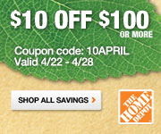 $10 OFF orders $100 or more! Enter code: HDJUNE10 at checkout online only at homedepot.com. Valid 6/