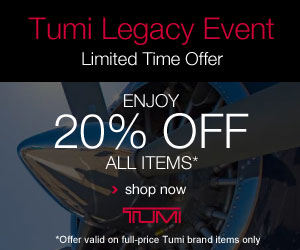 The Tumi Legacy Event - 20% Off at Tumi.com