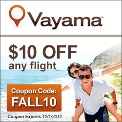 Vayama Flight - Save $10 with FALL10